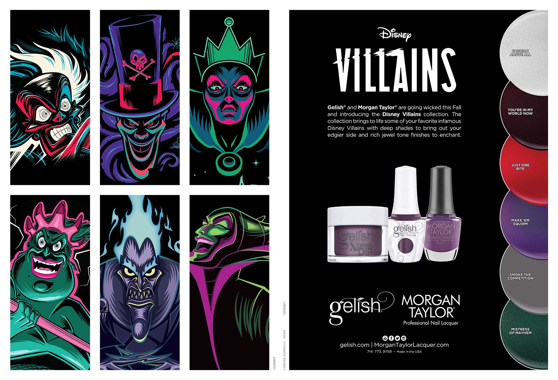 Gelish® and Morgan Taylor® are going wicked this Fall and introducing the Disney Villains collection. The collection brings to life some of your favorite infamous Disney Villains with deep shades to bring out your edgier side and rich jewel tone finishes to enchant.